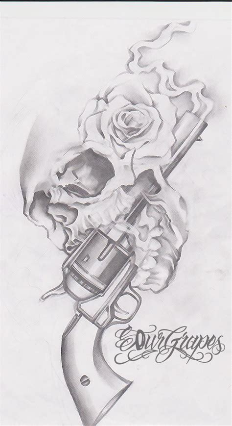 gun  roses skull tattoo drawing tattoobitecom skull  cross bones pinterest guns