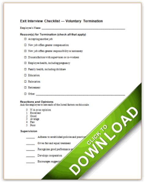 exit interview checklist voluntary termination