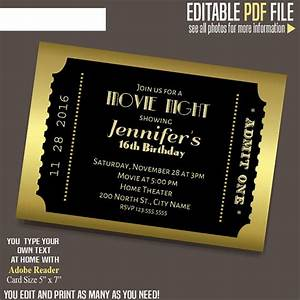 Create A Birthday Invitation For Free Movie Ticket Invitation Gold And Black Ticket Template