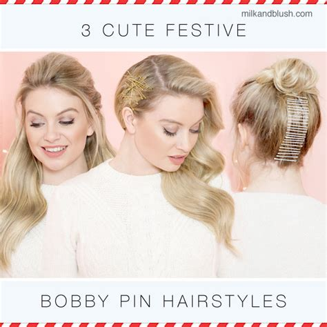 3 cute festive bobby pin hairstyles hair extensions blog