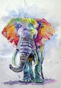 Colorful Elephant Painting by Kovacs Anna Brigitta
