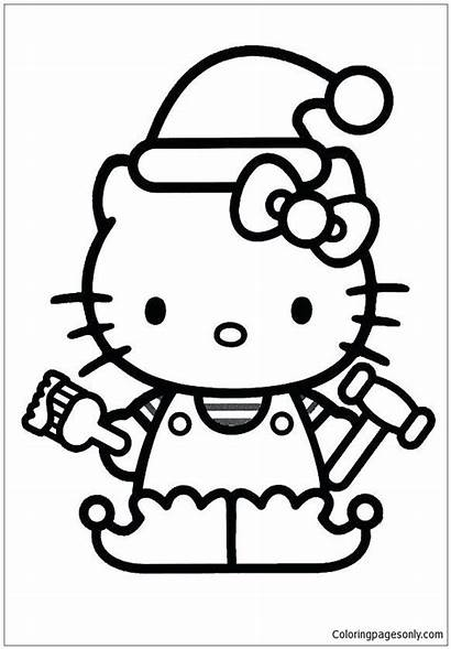 Kitty Hello Coloring Christmas Pages Colouring Sheets