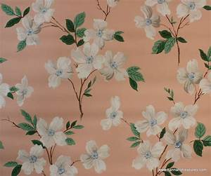 1940's Vintage Wallpaper white and blue dogwood on peach ...
