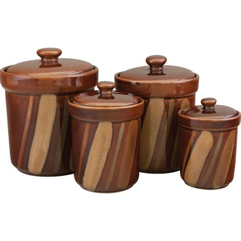 brown kitchen canister sets sango avanti canisters set in brown set of 4 4722 316 the home depot