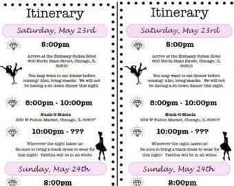 bachelorette itinerary template free bachelorette itinerary template template business