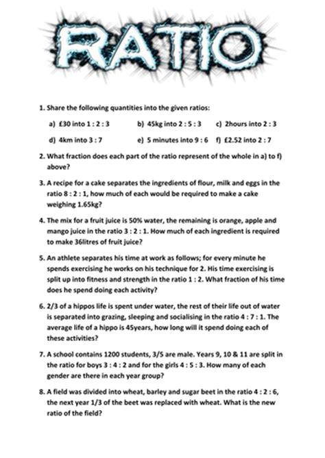 ratio worksheet  tj teaching resources tes