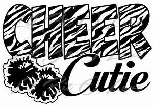 Zebra Print Cheer Cutie Vinyl Decal Cheerleader Sticker