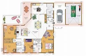 grande maison 4 chambres avec terrasse garage et carport With plan de maison plain pied 4 chambres avec garage 3d