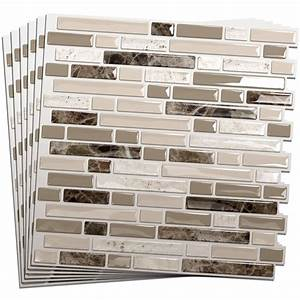 Smart tiles 6 pack white beige brown glossy composite for Stick on tiles for bathroom