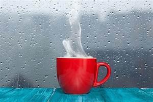 cup mug table rain glass drops light after the rain ...