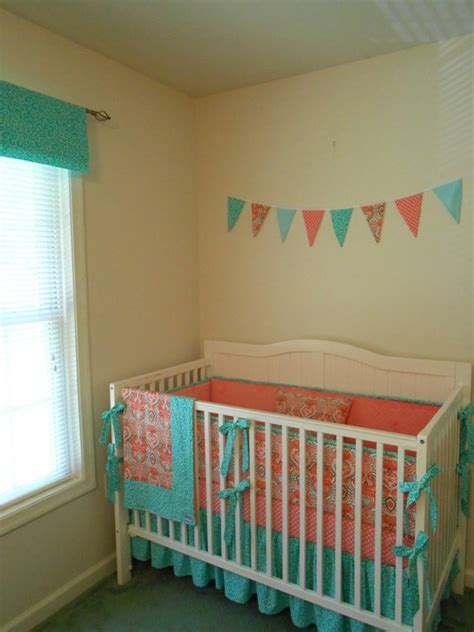 coral and aqua crib bedding coral and turquoise banner above crib baby bedding