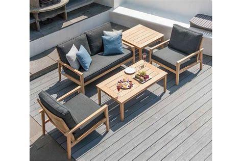 canap 233 lounge pour salon de jardin en bois avec coussin gris fonc 233 haut de gamme la galerie