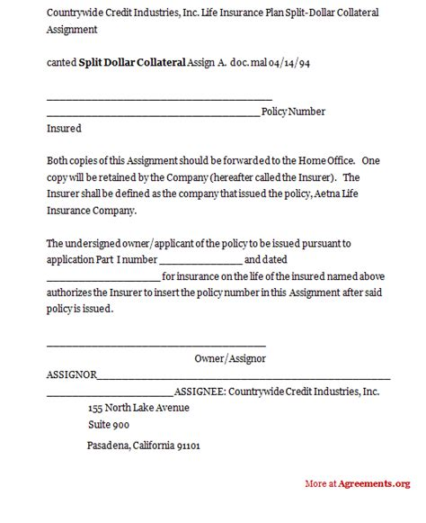 split dollar collateral agreement template