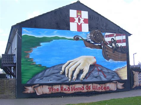 Red Hand Of Ulster  Mural In Loyalist Shankill Road. Skate Decals. Patients Signs. Tricolor Banners. Wooden Stickers. Flag Texas Banners. Murray State Logo. Vegetable Logo. Shy Stickers