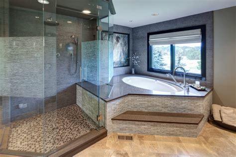 spacious master bathroom  step  tub  glass shower