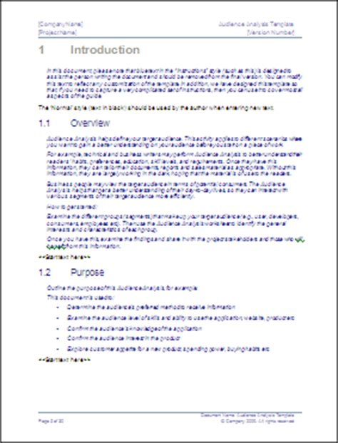 plan target audience questionnaire template