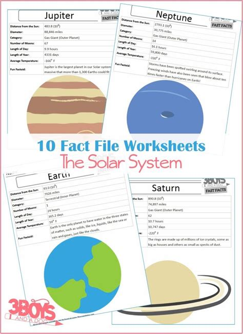 mega solar system printable learning kit  boys