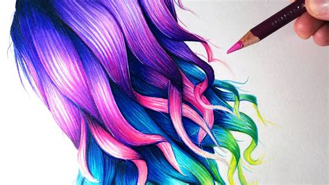 draw rainbow coloured hair youtube