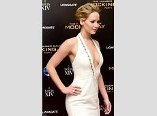 Jennifer Lawrence shows off cleavage in sexy white dress
