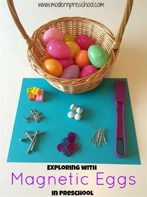 plastic egg magnetic science in preschool 167 | eggpinterest