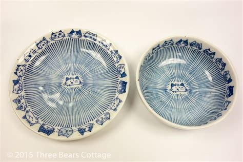Cat Design Rice Bowls and Plates at Three Bears Cottage