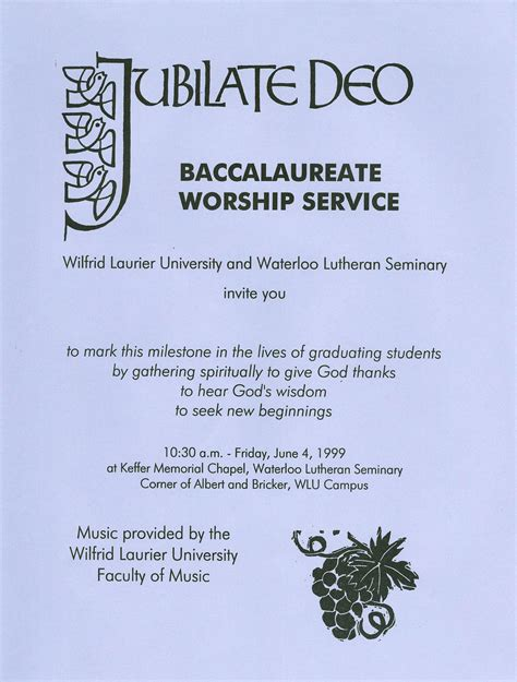 baccalaureate ceremony wilfrid laurier university baccalaureate service invitation spring 1999 laurier library images