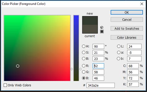 change photoshops color picker   default style graphic design stack exchange