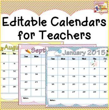 calendar printable editable firstgradefacultycom