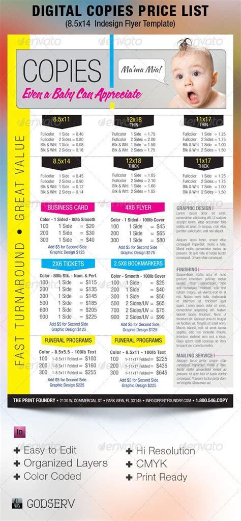 lamination price list digital printing price list flyer template 6 00 design and printing assets pinterest