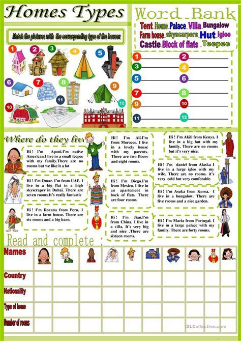 types  homes worksheet  esl printable worksheets
