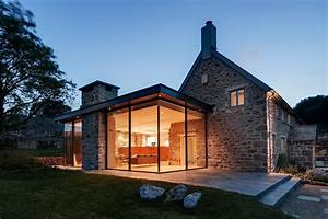 Glass And Stone Exterior Farmhouse With Glass Box