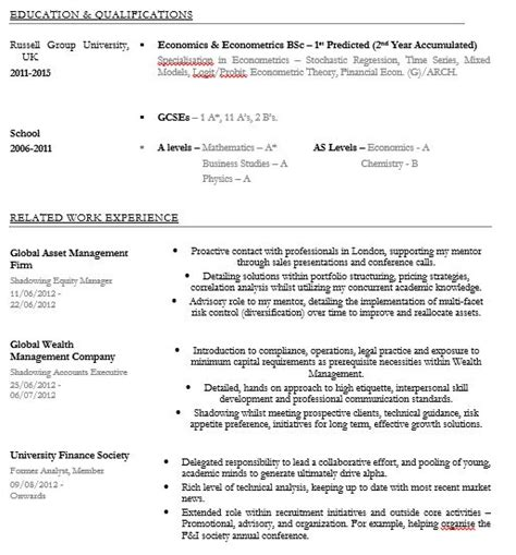 Pitch Line Resume by Banking Cv Clinic Quot I Ve Got Outstanding Academic Best