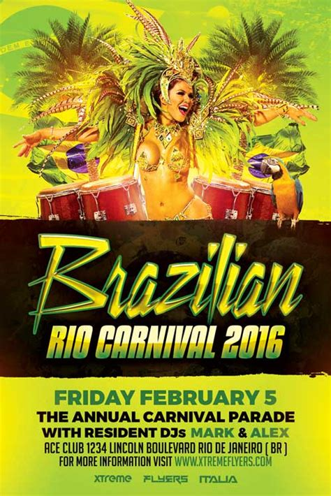 Brazilian Carnival Flyer Template by Xtremeflyers Costume Party Flyer Templates