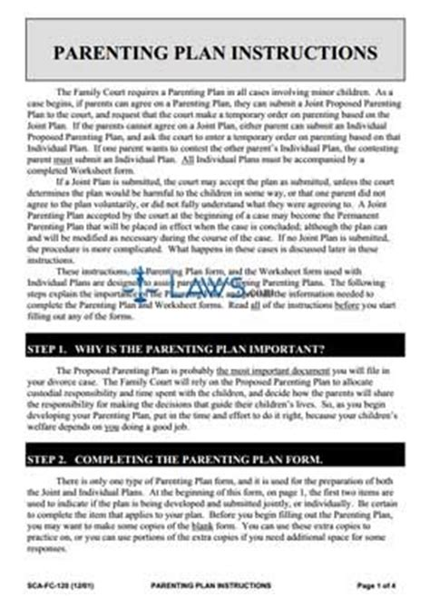 parenting plan instructions legal forms