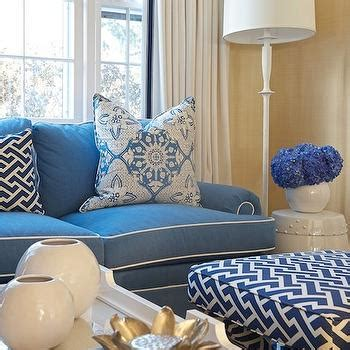 Blue Sofa White Piping by Living Room With Neutral Tones Transitional Living