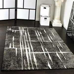 Grand Tapis Pas Cher : grands tapis design salon gris noir et blanc pas cher 2017 ~ Teatrodelosmanantiales.com Idées de Décoration