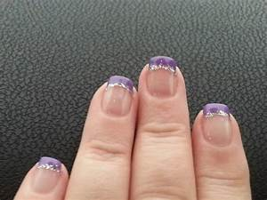 Purple french manicure with silver glitter. | My Nails ...