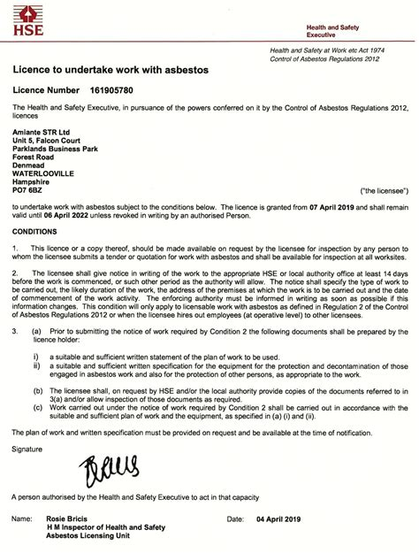 asbestos removal licence maximum  years success  amiante