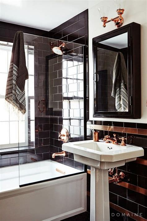 Black Bathroom Fixtures Decorating Ideas by Black White And Copper Bathroom Home Talk