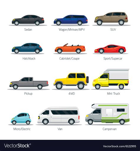 Car Type And Model Objects Icons Set Royalty Free Vector