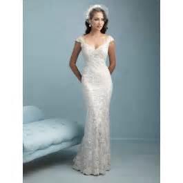 column wedding dress shoulder lace sheath column wedding dress aae0106