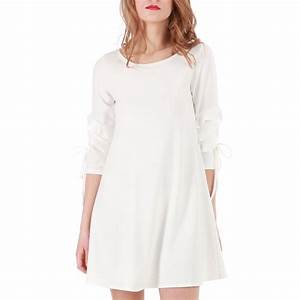 robe evasee blanche manches 3 4 froufrous femme pas cher With robe blanche manche 3 4