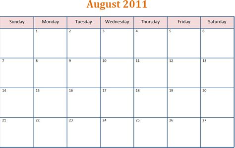 Printable Blank Pdf August 2011 Monthly Calendar