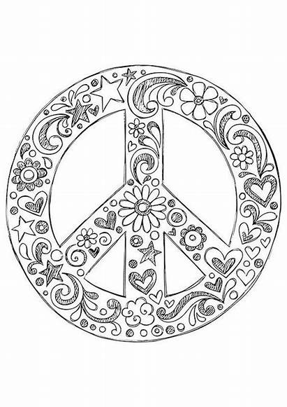 Coloring Pages Peace Sign Hippie Mandala Printable