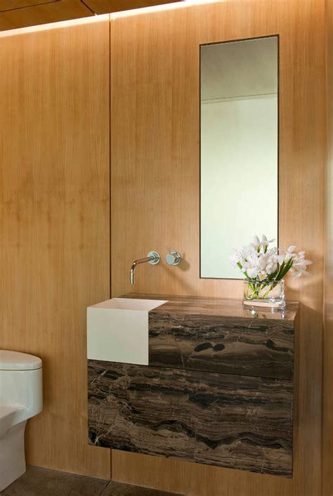 powder room sink Powder Room Contemporary with brown stone