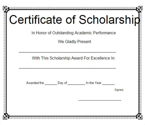 scholarship certificate template 10 scholarship certificate templates free sles exles format sle templates