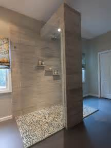 open shower bathroom design bathroom design cool open shower with pebble floor design ideas and brick wall amazing way to