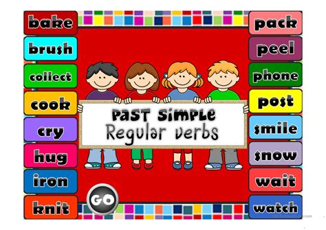 simple regular verbs game english esl