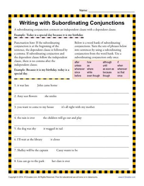 writing with subordinating conjunctions 3rd grade
