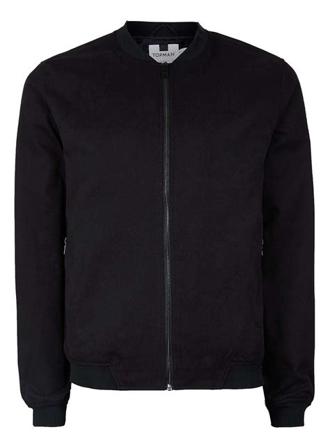 light bomber jacket mens topman black cotton lightweight bomber jacket in black for